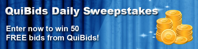QuiBids Daily Sweepstakes Contest for 50 free bids
