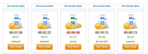 QuiBids voucher bid auctions