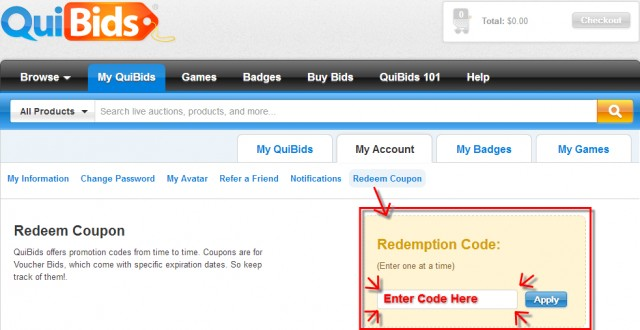 How to redeem Promo Code on QuiBids